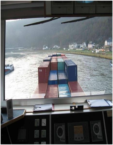 Blick von der Kapitänsbrücke auf den Rhein